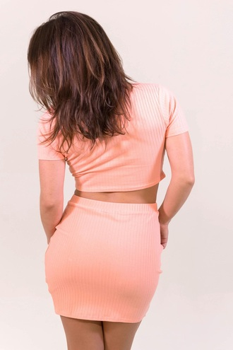 dress coral pink two-piece skirt crop tops summer spring free vibrationz
