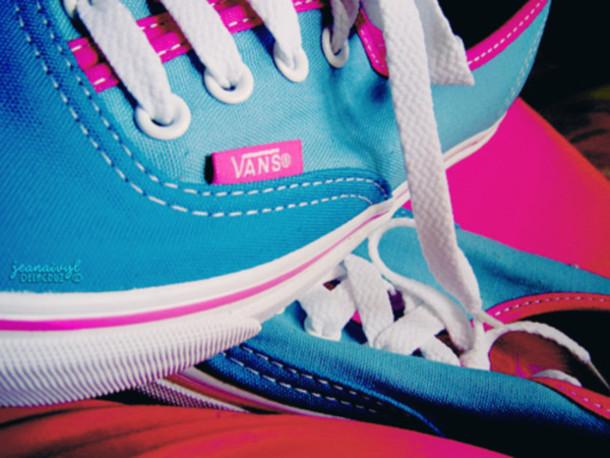 shoes pink blue vans