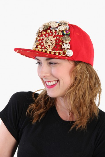 LoveMelrose.com From Harry & Molly | DERYCK TODD EMBELLISHED HAT with Chain - Red