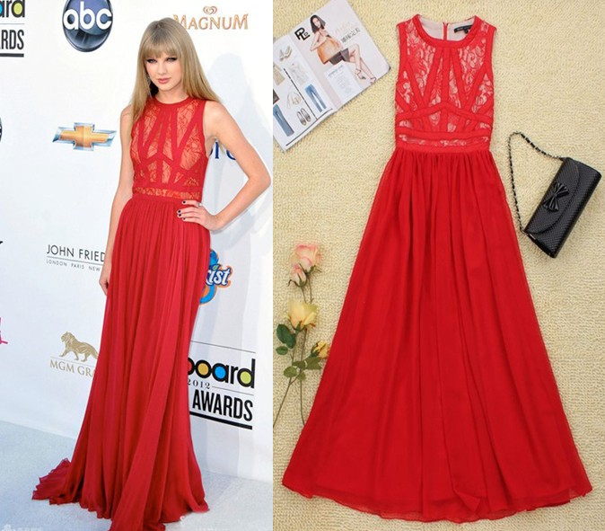 New Arrival sleeveless floor length Solid color slimming lace silk dress Luxury Celebrity Taylor Swift dress D14-in Dresses from Apparel & Accessories on Aliexpress.com
