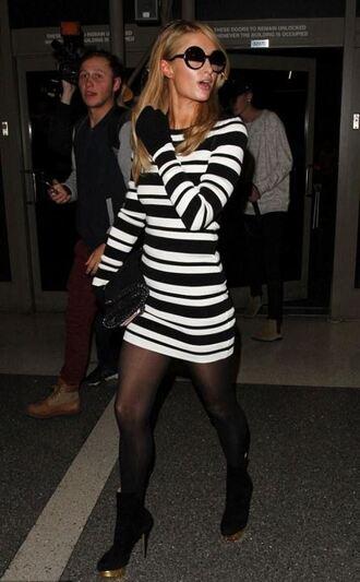 dress bodycon dress stripes striped dress paris hilton mini dress sunglasses black and white
