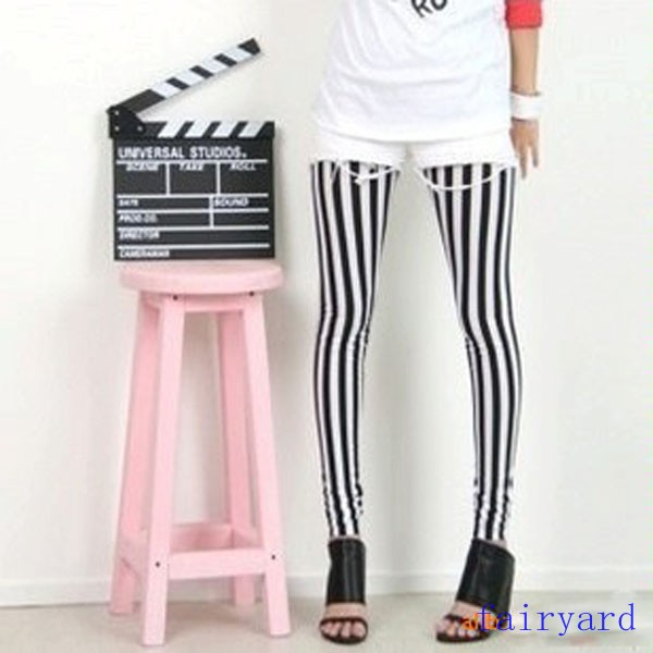 Womens Black & White Vertical Stripe Zebra Leggings Skinny Tights Legwear Pants | eBay