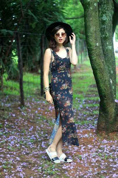 my name is glenn blogger spring outfits floral dress slit dress flats dress bag jewels