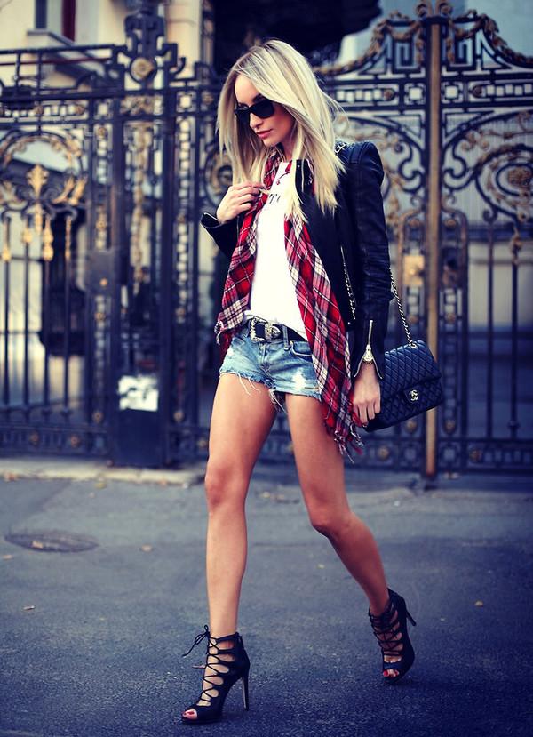 shorts sandals shoes fashion streetstyle scarf jacket chanel shoulder bag chanel bag stylish black