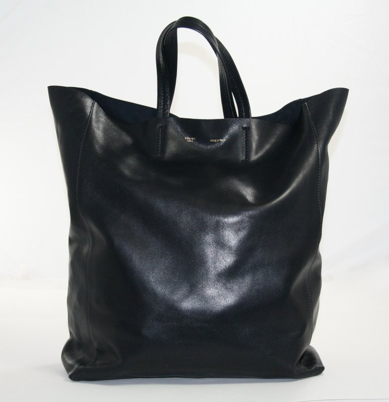 Celine Black Leather Large Cabas Tote Bag   Portero Luxury