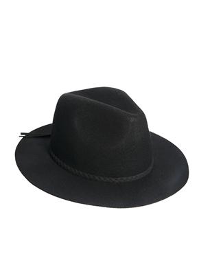 ASOS   ASOS Felt Fedora Hat With Plait Braid at ASOS