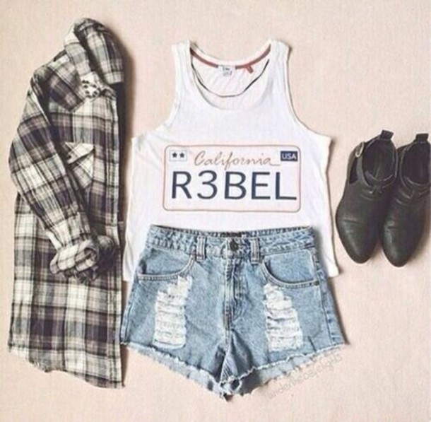 top white denim cute shoes rebel short tanktop top white california t-shirt nosleeves no sleeves blouse shirt girly jacket tank top cool outfit jeans shorts jewels t-shirt fashion tumblr outfit tumblr white top flannel shirt boots ripped shorts