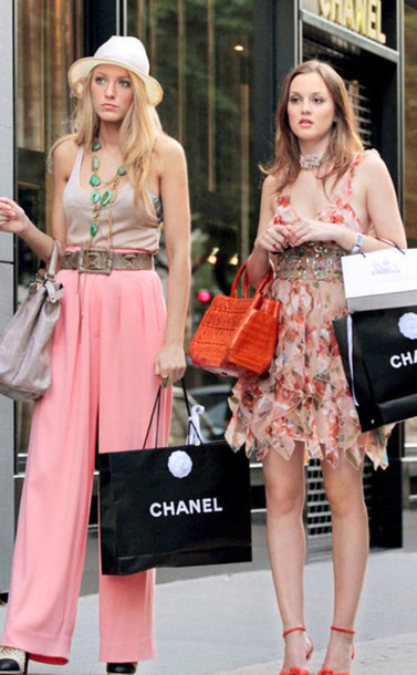 blouse blake lively leighton meester pants pink wide leg pants high waisted