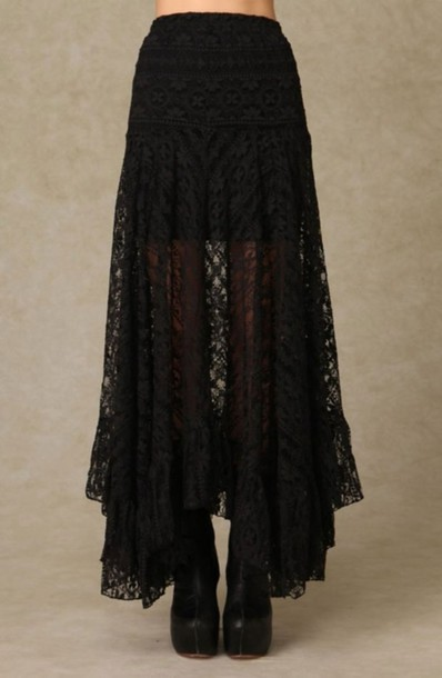 skirt long black laces maxi skirt black skirt lace black lace goth hipster goth alternative midi skirt lace skirt flowy lacy black