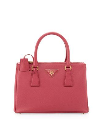 Prada Saffiano Double-Zip Crossbody Mini Bag, Fuchsia - Neiman Marcus