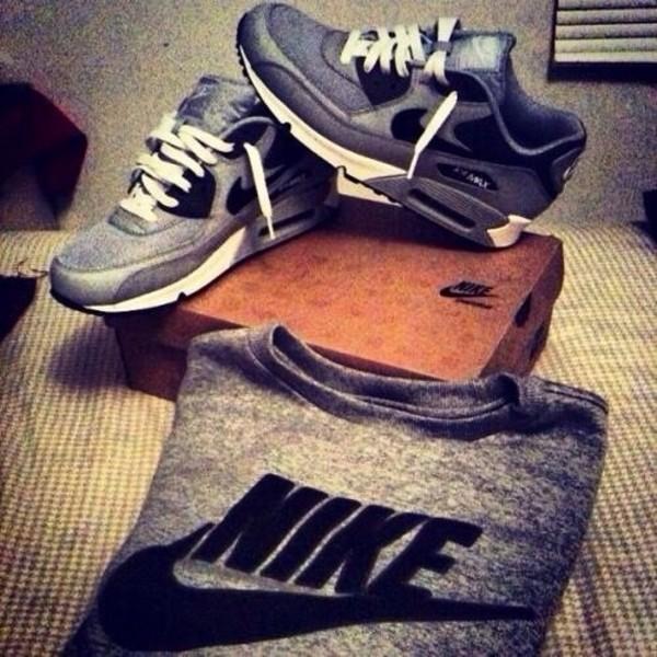 shoes air max nike grey black shirt t-shirt