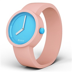 O clock watch - Light Blue face with Powder Pink strap