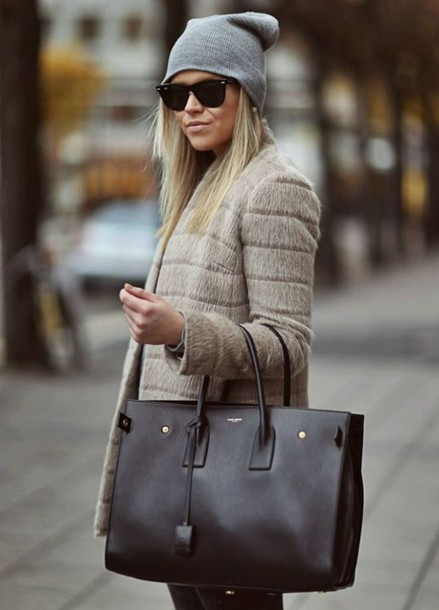 coat black big bag bag winter outfits