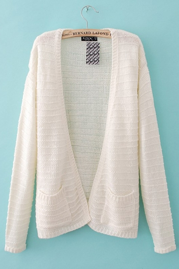 Loose Style White Cardigan With Pocket [FKBJ10160]- US$29.99 - PersunMall.com