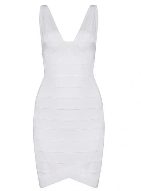 White Sexy V-neck Bandage Dress H148W $99