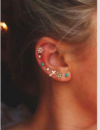 jewels ear piercings cartilage piercing cartilage earring cute earrings turquoise cross cross earring flower earings