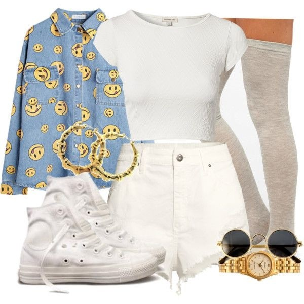 shirt smiley denim shorts crop tops white knee high socks dope jewels