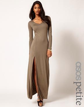 ASOS Petite   ASOS PETITE Maxi Dress With Long Sleeves And Split at ASOS