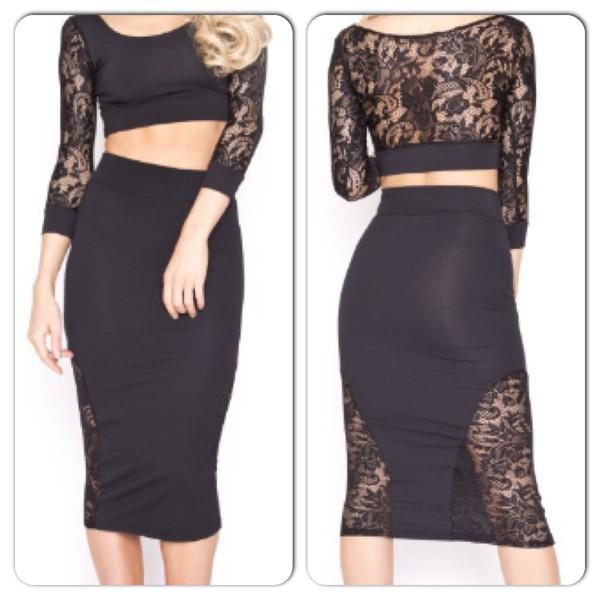 dress two-piece black lace dress lace dress lace skirt lace crop top crop tops