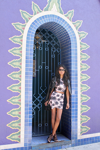 tuolomee skirt top shoes jacket sunglasses