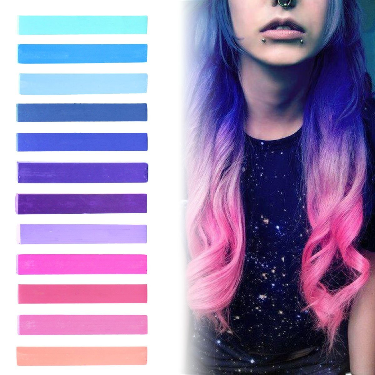 Amazon Com Pink To Blue Ombre Hair Dye Set Of 12