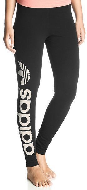 New Adidas Originals Trefoil Leggins Pants Womens Black White | eBay