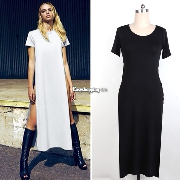 Sexy Womens Open Side Cut Out Long Maxi T Shirt Prom Party Dress | eBay