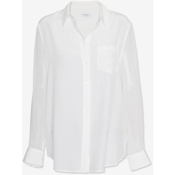 Equipment Sheer Sleeve Blouse: White - Polyvore