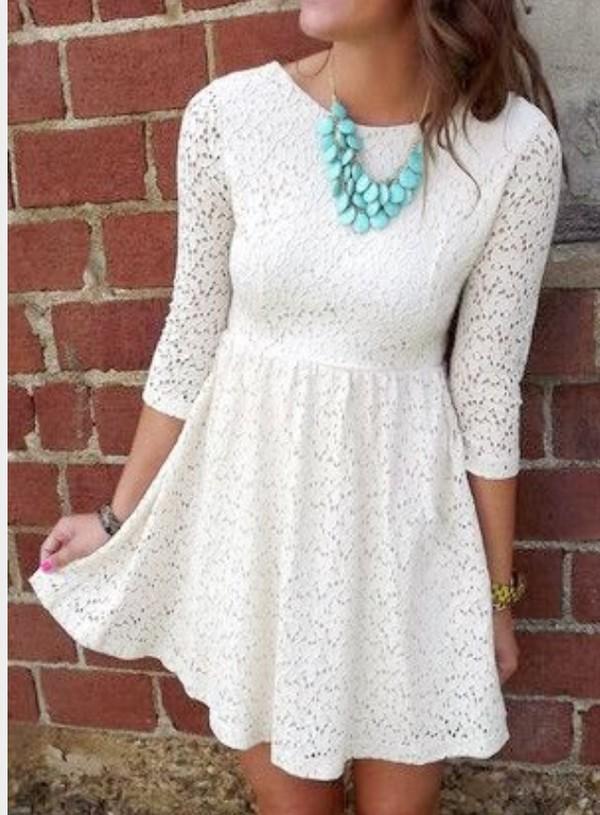 dress white lace skater dress
