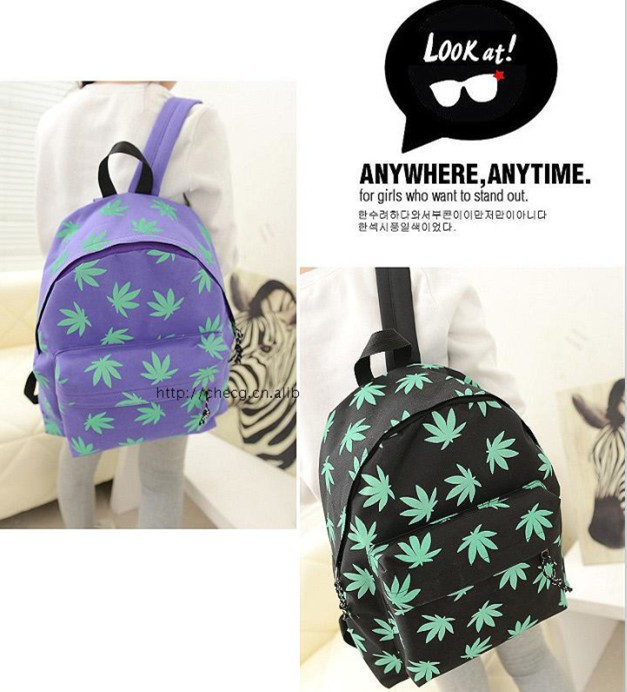 Christmas Fashion Backpack new plantlife weed leaf backpack HUF style college rucksack cute school bag 4 color-in Backpacks from Luggage & Bags on Aliexpress.com