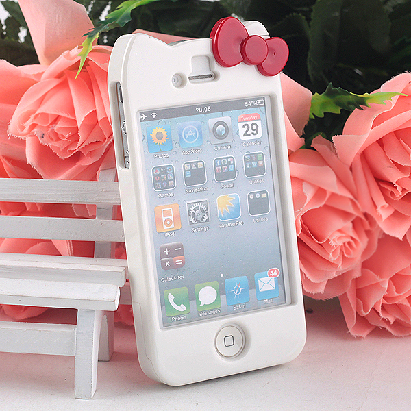 Full Glossy White Hello Kitty Bow Bowknot Hard Case Cover for Apple iPhone 4 4S | eBay