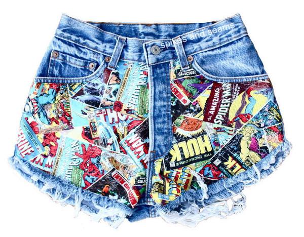 shorts comic book print hipster acid wash sway