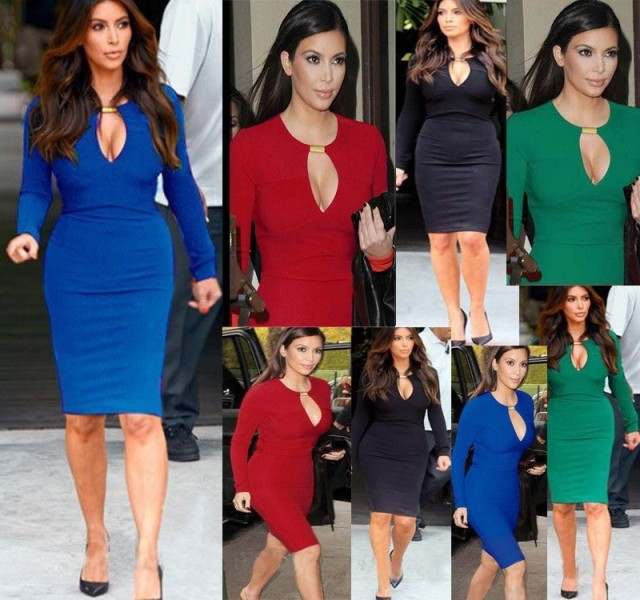 Sexy Midi bodycon dress 2014 Black Red Blue Knee Length Red Carpet Celebrity Dress Kim Kardashian Dress fitted pencil dresses-inDresses from Apparel & Accessories on Aliexpress.com