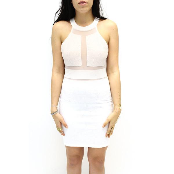 White Flower and Mesh Cut Out Dress | VidaKush