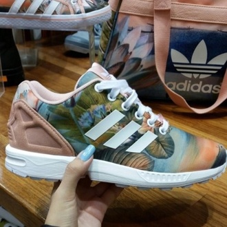 shoes tumblr adidas adidas shoes trainers girls sneakers multicolor sneakers low top sneakers tropical tropical print adidas urban colorful pattern floral shoes fashion dope shoes dope love swag nude shoes sporty adidas zx flux floral adidas zx flux purse