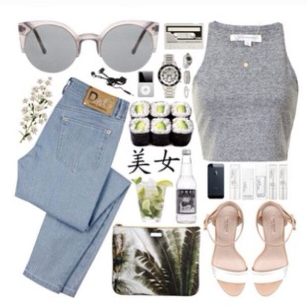 jeans blue skinny jeans cute natural natural colours tropical tropical tumblr t-shirt cool sushi hipster summer clothes shirt shoes sunglasses bag jacket jewels