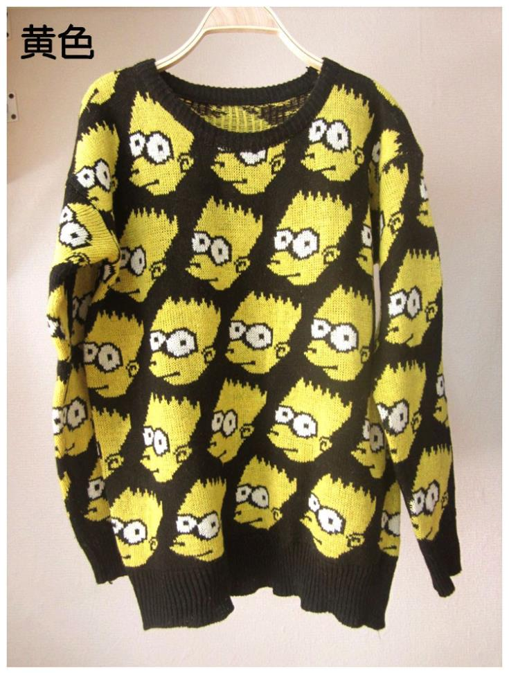 Free shipping 2013 New style women Europe United States big bart simpson knitting sweater coat new women outwear UP plus size-in Pullovers from Apparel & Accessories on Aliexpress.com