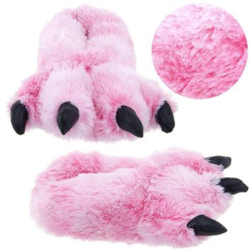 Pink Fuzzy Bear Paw Animal Slippers for Women and Men on Wanelo