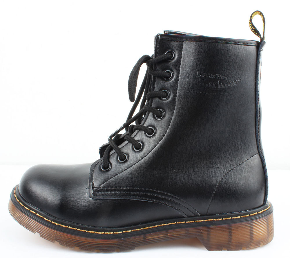 Dr Womens Combat Military Lace Up Boots Shoes US 7 Black Ankle Martens Style | eBay