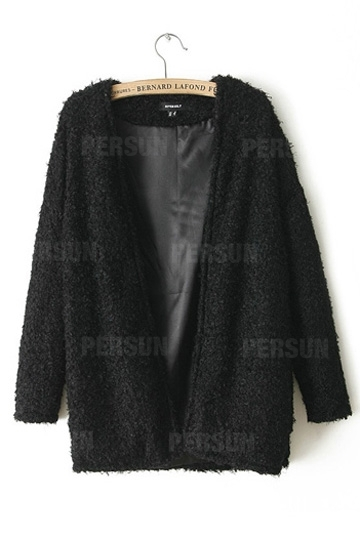 European Loose Style Fur Coat With No Button [SHWM00014] - PersunMall.com