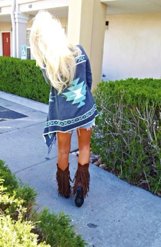 sweater boots indie boho bohemian gypsy tribe tribal pattern brown ankle boots shoes cardigan turquoise aztec black blue and green tribal