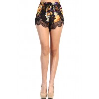LoveMelrose.com From Harry & Molly   Floral Lace Short - Purple / Orange
