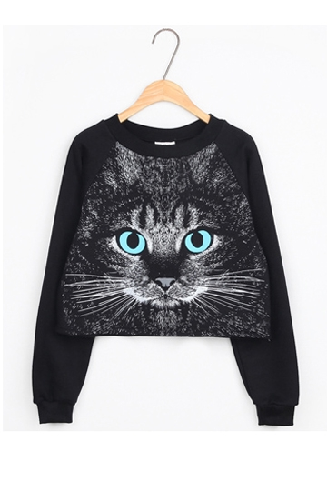 Serious Cat Head Print Pullover [FOBK00138]- US$ 15.99 - PersunMall.com