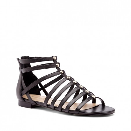 Women's Black Leather 1/4 Inch  Gladiator Sandal | Kaarina by Sole Society