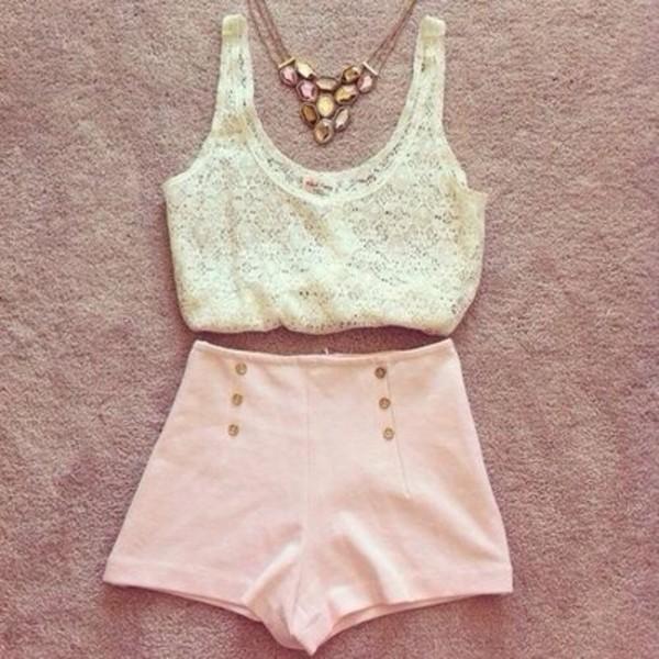 shorts white jewels blouse