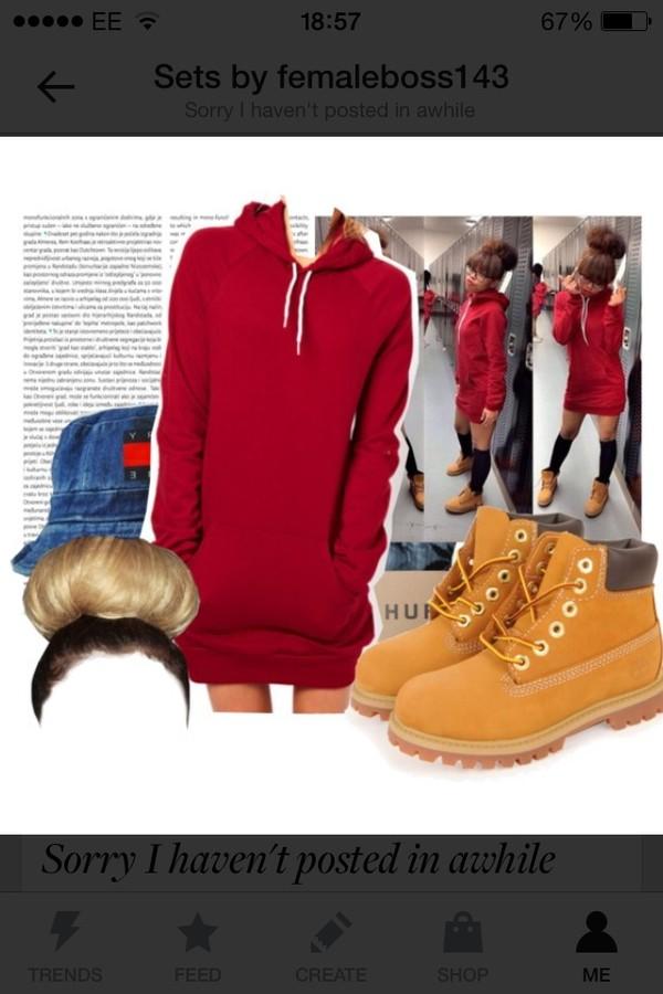dress red dress timberlands tommy hilfiger hat shoes