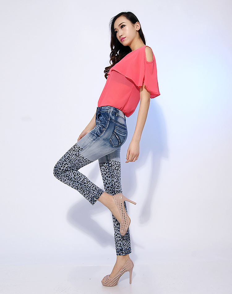 2013 New Autumn  Summer Fashion Women Leopard Print Blue Denim Skinny Trousers ,  female Pencil Jean Pants , Disigner Jeans-inJeans from Apparel & Accessories on Aliexpress.com