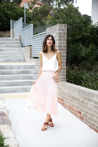 mademoiselle blogger tank top skirt shoes bag jewels midi skirt pleated skirt sandals pink bag