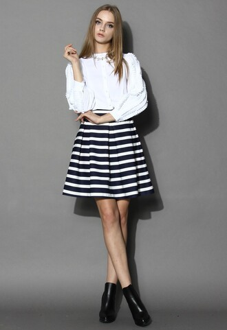 skirt chicwish navy stripes skirt pleated tulip skirt fashion and chic
