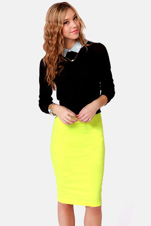 Cute Neon Yellow Skirt - Pencil Skirt - $43.00